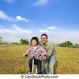 彼の, 娘, 乗車, 父, 教授, 自転車, 幸せ