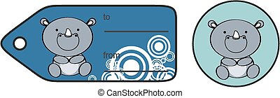 cute baby rhino giftcard sticker in vector format very easy...