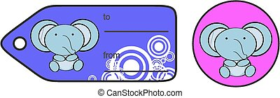 cute baby elephant giftcard sticker in vector format very...