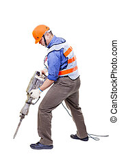 worker with pneumatic hammer drill equipment isolated on...