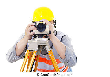 Surveyor worker making measurement  and isolated on white