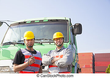 two container workers with truck