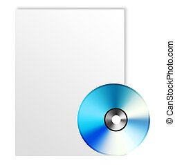 Cd and paper over white background. Illustration