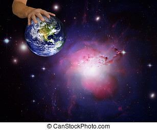 Composite image using NASA images of Earth and Perseus...