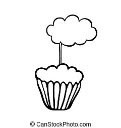Cupcake sketch with cloud topper - Cupcake decorated with...