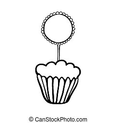 Cupcake sketch with frilly round topper - Cupcake decorated...
