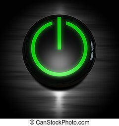 Power on button - black power on button with green glowing...