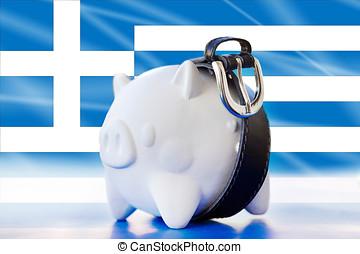 Greece - savings in piggy bank - tighten the belt