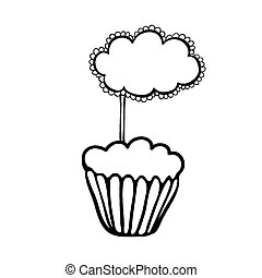 Cupcake sketch with frilly cloud topper - Cupcake decorated...