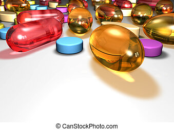 Pills - Close up of colorful pills with blur