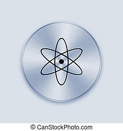 Light blue metal button with nuclear icon - The metal knob...