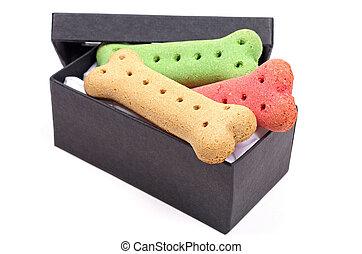 caixa, biscoitos, cão