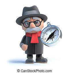 3d Grandpa holding a compass - 3d render of an old man...