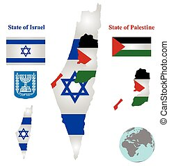 Israel Map Flag - Flag and coat of arms of the State of...
