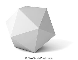 gray polyhedron - 3d gray polyhedron on white background...