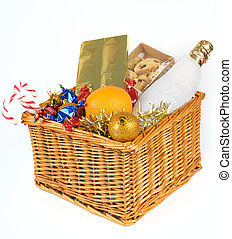 Christmas hamper - Christmas gift basket isolated on white...