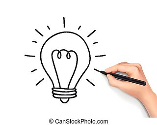 light bulb drawn by human hand over white background