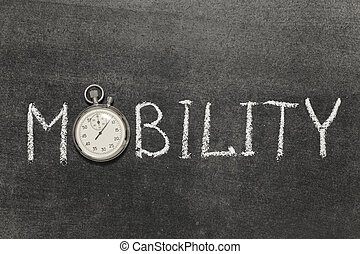 mobility word handwritten on chalkboard with vintage precise...