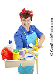 Maid At Your Service - Happy maid with her tray of cleaning...