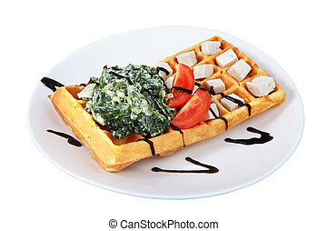 Belgian waffle with lettuce, cheese and tomato slices -...