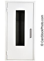 White steel door with glass, isolated over white background.