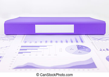 Blank purple folder with graph summary and educational...
