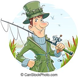 Fisherman with rod Fishing Eps10 vector illustration