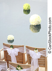 Floral arrangement at a wedding ceremony