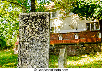 Maltese cross on headstone - Gravestone made of headstone...
