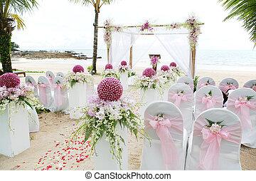 floral, arranjo, em, Um, casório, cerimônia,...
