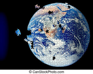 Earth puzzle - Abstraction of the earth as a puzzle with...