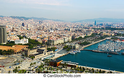 Aerial view of Barcelona and Mediterranean. Catalonia, Spain
