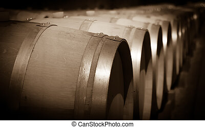 toned image of winery with wooden barrels