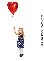 Girl with heart - Girl with balloons in the form of a heart...