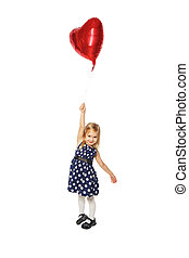 Heart in a small hand - Girl with balloons in the form of a...