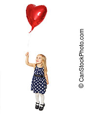 Balloon heart in his hand - Girl with balloons in the form...