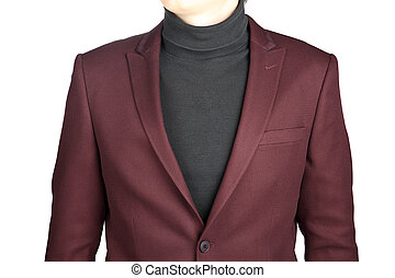 Menswear, Close-up fragment of male crimson jacket suit, on...
