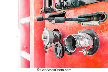 Fire truck close up equipment - image of Fire truck close up...