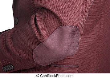 Dark red suit jacket for men, a patch on the elbow. -...