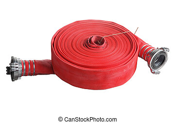 rolled up red fire hose extension soft pipe on white -...