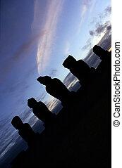 Moai- Easter Island, Chile - Moai statues of The Tahai...
