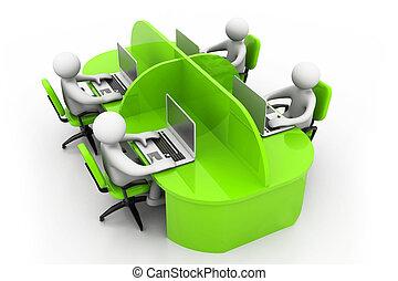 trabalhando, escritório, negócio, pessoas, junto, tabela