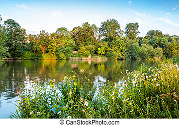 Thames River. Oxford, England - River Thames near Iffley...