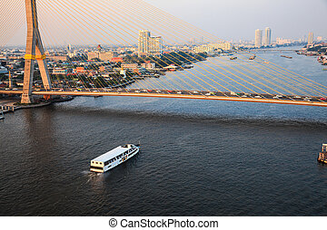 View of Chao Phraya River in the evening, Bangkok, Thailand
