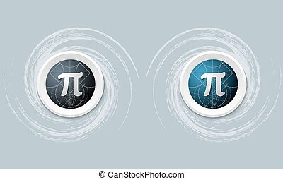 set of two icon and pi symbol