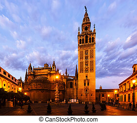 Dawn view of Giralda tower. Seville, Spain - Dawn view of...