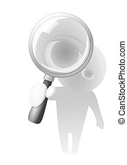 Lens Guy and Magnifying Glass - A little cartoon boy or man...