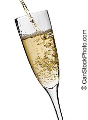 Champagne being poured - Champagne glass with buubling...