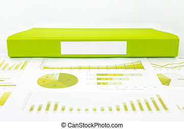 Blank green folder with analytic graph and educational...