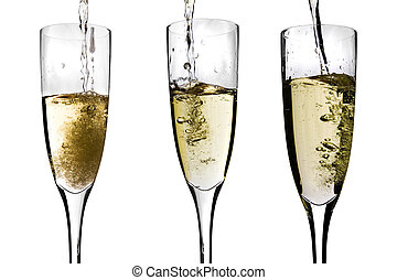 Champagne being poured - Champagne glasses with bubbling...